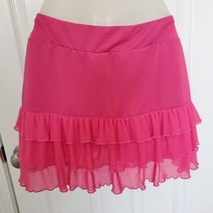 Fila Hot Pink Ruffle Skort Skirt over Shorts Small